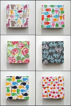 Mod podge puzzle blocks with fabric - really want to make these!