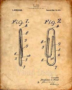This is a print of the patent drawing for a paper clip patent in 1919. The original patent has been cleaned up and enhanced to create an attractive display piece for your home or office. This is a great way to put your interests and hobbies on display. Wonderful gift idea as well. The