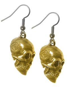 Narcotics Anonymous Skull Earrings, Brass, Small NA Symbol on Both Sides . Narcotics Anonymous, Surgical Steel Earrings, Skull Earrings, Antique Brass, Recovery, Dangles, Wire, Symbols, 3d