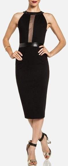 Mesh Strip Midi Dress