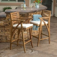 Shop for Hermosa Outdoor Acacia Wood Barstool with Cushion (Set of 2) by Christopher Knight Home. Get free delivery at Overstock.com - Your Online Garden