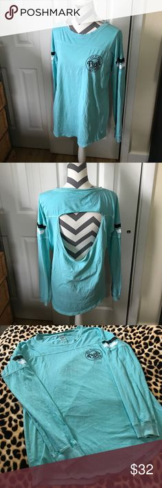 💎PINK LONG SLEEVE OPEN BACK💎 Super cute distressed teal long sleeve shirt with a very sexy open back style! Size small but definitely oversized!! Has been worn a handful of times but as always washed and never dried and in excellent condition! BUNDLE AND SAVE 😘💖👍 PINK Victoria's Secret Tops Tees - Long Sleeve