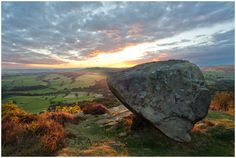 """Anvil Stone,Baslow Edge and a must have image of """"The Anvil Stone"""". A solitary standing stone that looks like it was dropped from the sky, sharp end into the Earth. Under The Lights, Super Moon, Peak District, New Friends, Countryside, Landscape Photography, That Look, Stones, Mountain"""