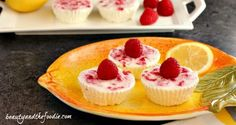 Lemon Raspberry no bake Cheesecake Bites, crust free, primal and low carb/ beautyandthefoodie.com