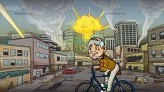 A Grandpa Riding A Bicycle At A City Under Attack:  An old man with white hair on the sides of his balding head white mustache wears a mustard yellow sweatshirt dirty white pants green with white sneakers leans forward as he rides a bicycle with a teal blue body paint and brown seat both hands holding on to the handle bar with gray grip lips sealed in a smile. Set in a city with buildings cars huge street being destroyed and blown away by missiles and bombs.