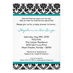 5x7 Teal Black Damask Baby Shower Invitation