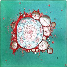 Nava Lubelski - Thread on canvas Art Textile Roterfaden, Frida Art, Creation Art, Paper Embroidery, Embroidery Designs, Embroidery Stitches, Art And Illustration, Fabric Manipulation, Textile Artists
