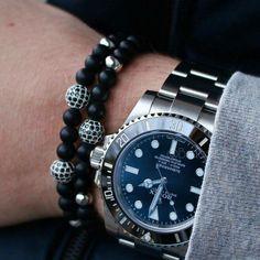 Luxury Men's 6MM Matte Agate Rhodium Plated Zircon Disco Ball Beaded Bracelet B6 #Handmade #Beaded