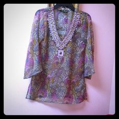 Indian Silk threads tunic top Sheer/thin says S on the tag but could fit M and still b loose just let me know if you want measurements :) with side slits and made in india silk threads Tops Tunics