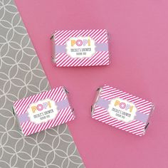 """Custom Baby Shower Favors - """"She's Going to Pop"""" Personalized Mini Candy Bar Wrappers"""