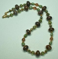 #363 Bronzinte  and Crystal Necklace | UniqueDesignsbyTammy - Jewelry on ArtFire