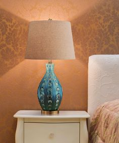 Mid-Century Ceramic Vase Teal Table Lamp in scene Teal Table Lamps, Teal Lamp, Rustic Bedroom Design, Condo Furniture, Bedroom Lamps, Bedroom Ideas, Unique Lamps, Headboards For Beds, Mid Century Style
