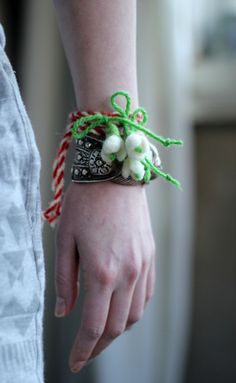 Martenitsa Set Of Three Bracelet  With Small Snowdrop - Old Bulgarian tradition related to welcoming the upcoming spring Good Luck Talisman by FeltArtByMariana on Etsy https://www.etsy.com/listing/262030159/martenitsa-set-of-three-bracelet-with