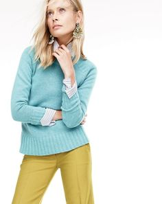 NOV '15 Style Guide: J.Crew women's Collection Italian cashmere saddle sweater, Collection Thomas Mason® club-collar shirt in dress stripe, patio pant and Lucite-and-crystal earrings.