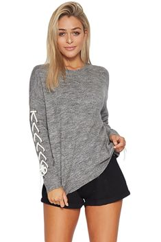 21618846b6 Gray Lace up Sleeve Sweater only US 45.21