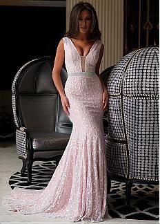 Elegant Lace V-neck neckline Mermaid Evening Dress with Beadings & Rhinestones