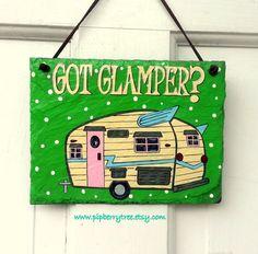 Custom Hand Painted Camper - Glamper Slate Sign