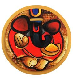 Studio3 4159 Abstract Ganesha Canvas Painting by Studio3 Online - Original Art - Home Decor - Pepperfry Product