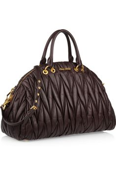 #Miu #Miu Matelassé leather tote.  I love the shape but no sure about the pleating