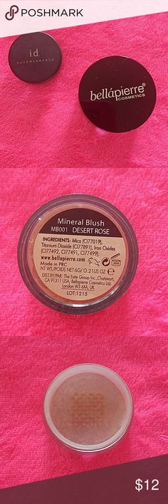 Makeup Bundle 2 Brand New Products, Full Size  Mineral Blush in Desert Rose, Travel Size Bare Minerals Platinum Glimmer, Gives a Subtle Highlight Wherever it's Used Bare Minerals and Bellapierre Makeup Blush