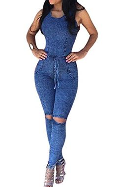 Women Jeans Denim Hole Bodysuit Sleeveless Long Jumpsuit Romper Overall Pants US 6 -- See this great product. (Note:Amazon affiliate link) #Jumpsuits