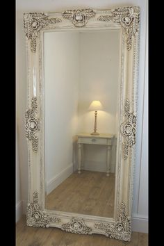 """Ella mirror   Cream Ornate Leaner Antique Floor Mirror 80"""" x 40"""" X Large  Highly ornate antique style moulded frame. Ideally suited to elaborate and striking interior styles  William Wood Designs Ltd Big Storage Trade Park , Earl Road, Handforth, Cheadle Hulme, Cheshire SK8 6PT"""