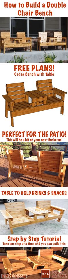 Woodworking Build your own Double Bench Chair with FREE plans and a 15 minute video tutorial that breaks this project down into easy steps so you can take action and build this project for your patio! - DIY Inspiration for the Average DIY'er