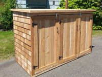 Outdoor Garbage Can Enclosures | Extra Large 3 Door Storage Bin For Trash Cans, Tools and More