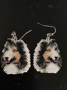 Beautiful Collie Hand Beaded Earrings by FaeryWolfsFancies on Etsy