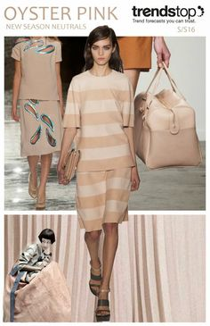 FASHION VIGNETTE: Colors This creamy nude pink resonates with a hint of 40's-style glamour, lending a feminine finish to products. Mulberry's tonal striped ensemble feels elegantly summery, while Christopher Kane adds interest to a simple, demure two-piece with foil trim cut-outs. Karen Walker's ladylike leather bag feels expressly chic.