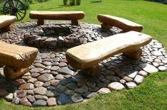 Love the benches Garden Fire Pit, Diy Fire Pit, Fire Pit Designs, Garden Stones, Outdoor Furniture, Outdoor Decor, Garden Inspiration, Outdoor Living, Backyard Ideas