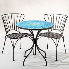 The whole set together would be $200. its perfect for the tea garden!! Turquoise Cadiz Mosaic Bistro Collection | World Market
