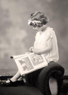 Little Girl Reading, photograph taken between 1905 & 1945 by Harris & Ewing.