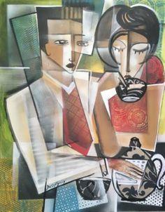 "Saatchi Art Artist Dada Adesoji Disu; Abstract Figurative Painting, ""At The Tea break"" #art"