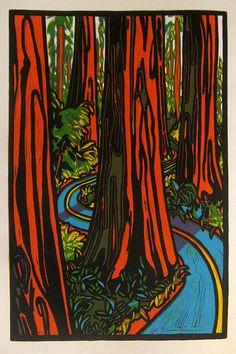 Redwood Road  Linocut by CarolBold on Etsy, $75.00