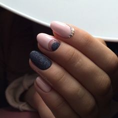 Accurate nails, Black and pink nails, Elegant nails, Evening nails, Ideas of evening nails, Moon on the nails, Nails with rhinestones, New years nails