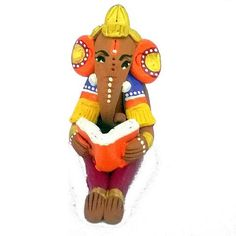 The Lord Ganesha is sitting and reading the book.This is ideal for home decor or Office or for gifting purpose for friends or Relatives.The Ganesha is made from terracotta, which are durable, washable and eco-friendly. Handy and light weight.The image may show slight differences to the actual in color and texture.