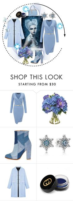 """A blue day.."" by freida-adams ❤ liked on Polyvore featuring Miss Selfridge, Diane James, River Island, Pandora, WithChic, Gucci and Relaxfeel"