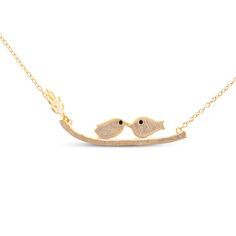 925 Sterling Silver Necklace, 18K Gold Plated, with Inseparable Birds Pendant, Golden
