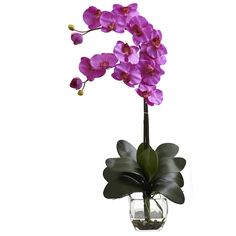 Nearly Natural 1323-OR Double Phalaenopsis Orchid with Vase Arrangement, Orchid >>> Find out more about the great product at the image link.