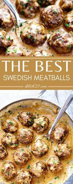 THE BEST SWEDISH MEATBALLS Brown Sugar Bacon, Best Meatballs, Panko Bread Crumbs, Egg Noodles, Garlic Chicken, Food Blogs, Spaghetti Squash, Ground Beef, Dinner Ideas