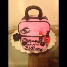 My First Purse Cake and Fondant Lipstick and Nail Polish