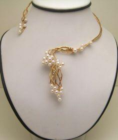 Estate Tasaki Shinju Gold Cascading Cultured Akoya Pearls Diamonds Necklace Box   eBay