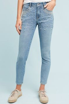 Slide View: 3: Pilcro Script High-Rise Pearl Skinny Jeans