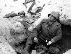 An American soldier in the Ardennes Forest - The Ardennes Offensive, Battle of the Bulge, as it is commonly called took place from December 16, 1944 to January 25 1945 and stands as one of the classic stories of true grit and defiance against a strong and determined enemy