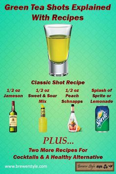 What's in a green tea shot? Surprisingly, there's no green tea in this shot at all. But it's still incredibly delicious. Combine whiskey, sweet and sour mix, peach schnapps, and sprite and you have a Green Tea Cocktail, Green Tea Shot, Jameson Whiskey Drinks, Whiskey Shots, Jameson Shots, Liquor Drinks, Alcoholic Drinks, Beverages, Tea Cocktails