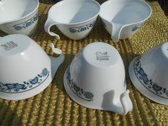 Corelle White Blue Onion Vitrelle Half Hook Handle Cups 1970's