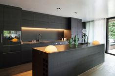 One wall kitchen layout modern black cabinets gorgeous one wall kitchen designs layout ideas kitchen one wall kitchen designs with island One Wall Kitchen, Home Decor Kitchen, New Kitchen, Kitchen Time, Black Kitchens, Luxury Kitchens, Modern Kitchens With Islands, Celebrity Kitchens, Fitted Kitchens