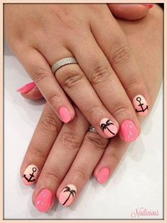 Ombre with Palm Tree & Anchor Nail Art