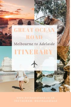 Great Ocean Road trip itinerary, driving from Melbourne to Adelaide, must see on. - Great Ocean Road trip itinerary, driving from Melbourne to Adelaide, must see on the Great Ocean Ro - Australia Tours, Australia Travel Guide, Visit Australia, Melbourne Australia, Melbourne To Adelaide, Melbourne Trip, Australian Road Trip, New Zealand Travel, Along The Way